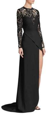 Elie Saab Cut-Out Wrap-Skirt Gown