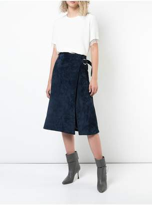ADAM by Adam Lippes Calf Suede Wrap Skirt With Metal Closure