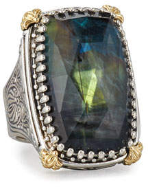 Konstantino Crystal Quartz Over Spectrolite Ring in Carved Sterling Silver