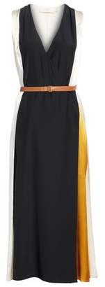 Tory Burch Clarice Colorblock Silk Wrap Dress