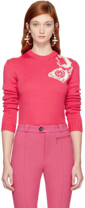 Miu Miu Pink Telephone Crewneck Sweater