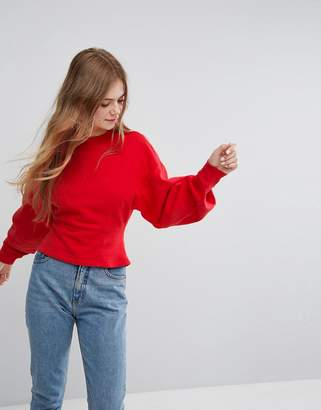 Monki Fitted Balloon Sleeve Sweat