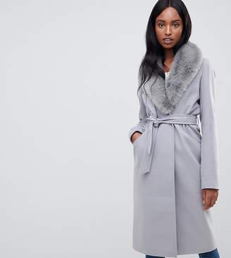 Asos Tall DESIGN Tall faux fur collar coat with tie belt
