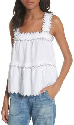 Rebecca Taylor Embroidered Linen Tank