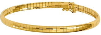 "14K Gold 4mm Domed 7"" Omega Bracelet, 9.3g"