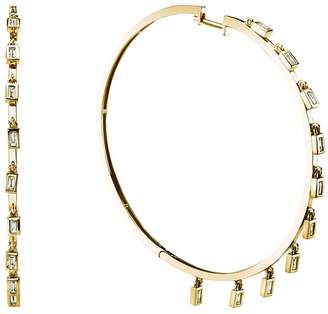 SHAY White Diamond Baguette Dangle Hoop Earrings