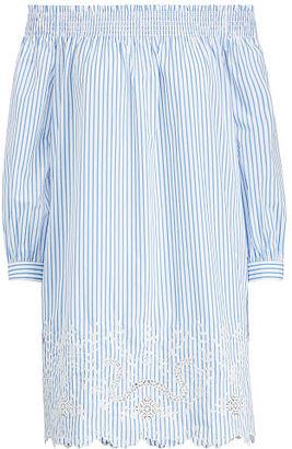 Polo Ralph Lauren Striped Off-The-Shoulder Dress $245 thestylecure.com