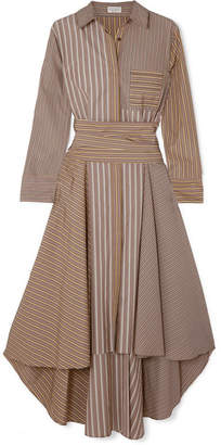 Brunello Cucinelli Asymmetric Striped Cotton-poplin Dress - Camel