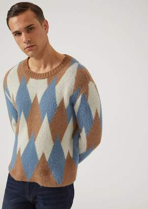 Emporio Armani Wool Blend Jumper With Lozenge Jacquard Design