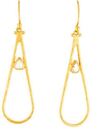 Gurhan 24K Diamond Teardrop Drop Earrings