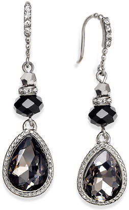 INC International Concepts I.n.c. Silver-Tone Jet Teardrop Earrings