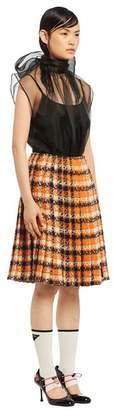 Prada Pleated Tweed Skirt