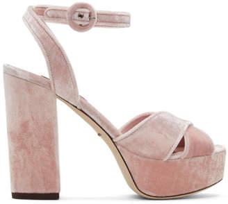 Dolce & Gabbana Pink Velvet Platform Sandals
