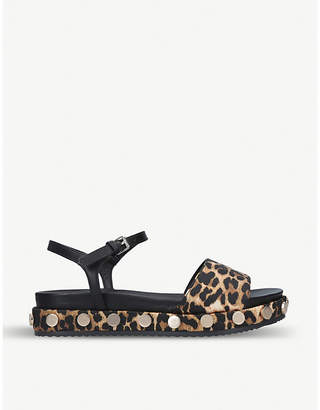 Kurt Geiger Ripple leopard-print satin and faux-leather sandals