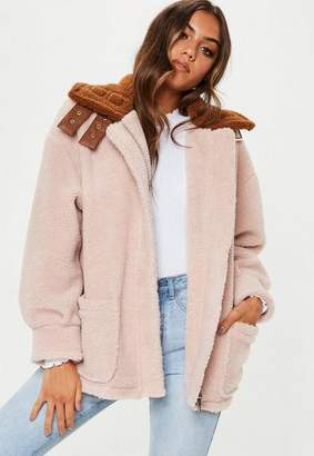 Missguided Stone Borg Aviator Jacket with Contrast Collar