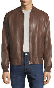 Men's Smooth Leather Bomber Jacket