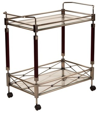 Office Star ODP Designs by Products Melrose Serving Cart, Nickel Brush Metal Frame