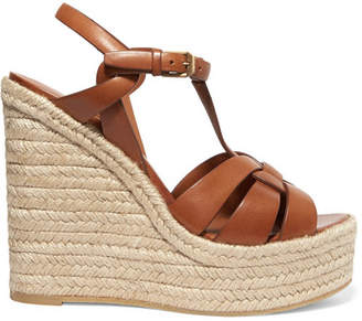 Saint Laurent Tribute Leather Espadrille Wedge Sandals - Tan