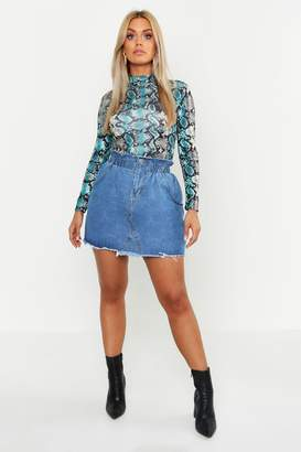 boohoo Plus Paperbag Waist Denim Skirt