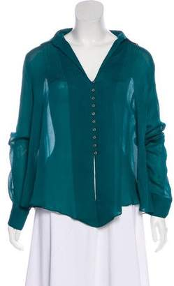 Elizabeth and James Long Sleeve Silk Blouse