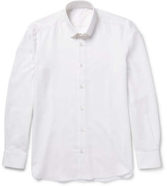 Caruso Slim-Fit Penny-Collar Brushed Cotton And Wool-Blend Twill Shirt
