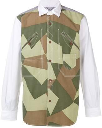 Junya Watanabe paneled camouflage shirt