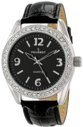 Peugeot Women's 3006BK Silver-Tone Swarovski Crystal Accented Black Leather Strap Watch