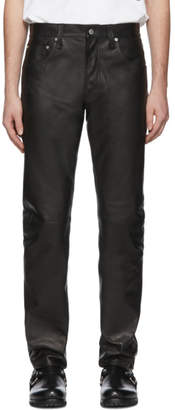 Helmut Lang Black Leather Masc HI Straight Jeans