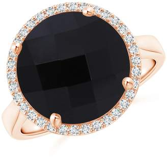 Angara.com Round Onyx Cocktail Ring with Diamond Halo in 14K Rose Gold (12mm Onyx)