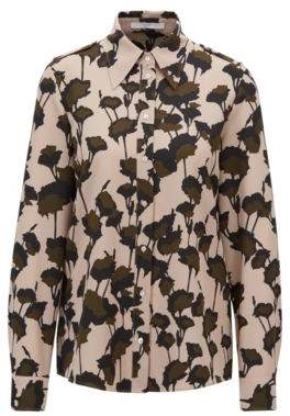 BOSS Hugo Utility-style blouse in Italian-made floral-print crepe 12 Patterned