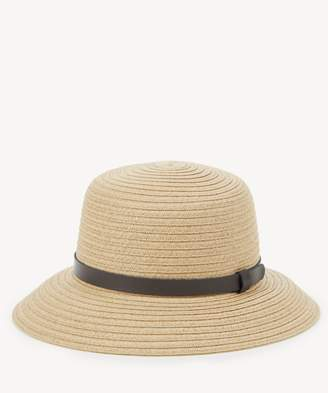 Sole Society Straw Bucket Hat with Faux Leather Band