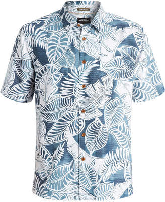 Quiksilver Waterman Men Leaf-Print Short-Sleeve Hawaiian Shirt