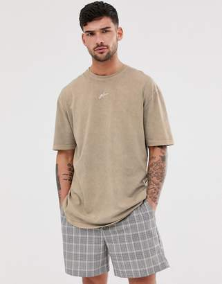Good For Nothing oversized t-shirt in washed stone with logo