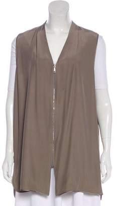 Lafayette 148 Silk Zip-Up Vest