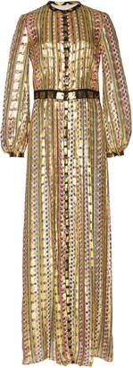 Temperley London Gold Letter Print Dress