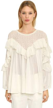 Mes Demoiselles Cotton Eyelet Lace & Gauze Blouse
