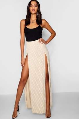 boohoo Polka Dot Print Thigh Split Maxi Skirt