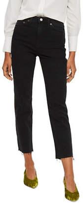 Topshop MOTO Washed Raw Hem Jeans 32-Inch Leg