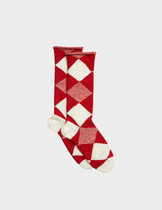 Burberry Army Check Socks in Bright Red Wool