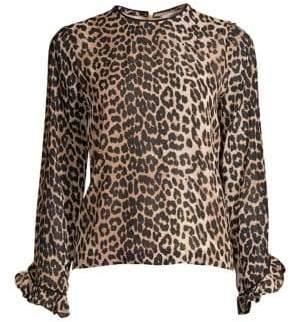 Ganni Printed Georgette Leopard Blouse