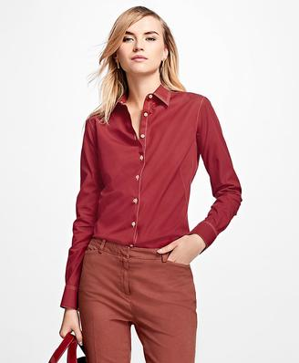 Non-Iron Fitted Cotton Poplin Dress Shirt $98 thestylecure.com
