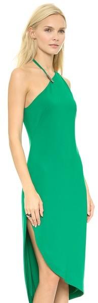 Halston Asymmetrical Neck Dress w Hardware