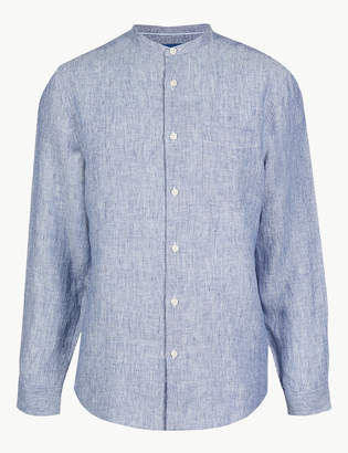 Marks and Spencer Pure Linen Striped Grandad Shirt