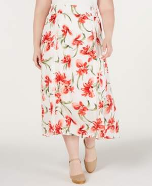 JM Collection Plus Size Floral-Print A-Line Skirt, Created for Macy's
