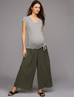 A Pea in the Pod Under Belly Crepe De Chine Wide Leg Maternity Pants