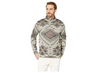 Lucky Brand Fleece Aztec Print Mock Neck Sweatshirt