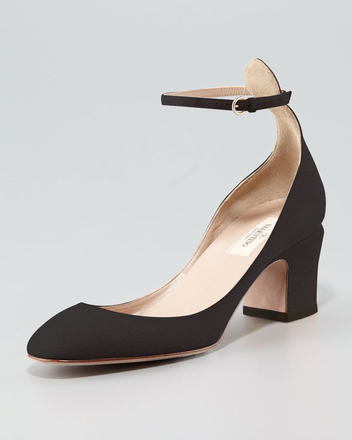 Valentino Suede Low-Heel Ankle-Strap Pump