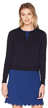 Lark & Ro Women's Buttoned Down Crewneck Cropped Cardigan Sweater