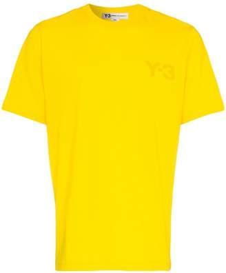 Y-3 yellow logo printed cotton tshirt