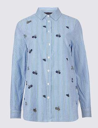 Marks and Spencer Pure Cotton Embroidered Long Sleeve Shirt